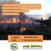 Reunión de planificación con el fin de delinear acciones para hacer frente a la temporada alta de incendios forestales en el área de la Reserva San Rafael y zona de amortiguamiento